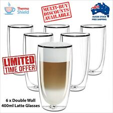 6 x Caffe Latte Glasses Glass Double Wall Dual Coffee Thermo Shield Cup Mug Cafe