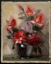 """Beppe Grimani """"FLORAL"""" Oil on Canvas  19.5"""" x 15.5"""" Signed, title on verso - red"""