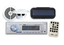 "White Outdoor MP3 USB AUX Input Radio 6.5"" Round White Speakers w/Stereo Cover"