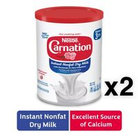 2X Nestle Carnation Instant Nonfat Dry Powdered Milk 9.6 oz Cans W/Vitamins A&D