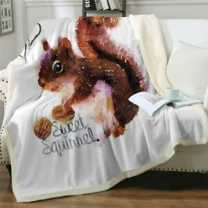 Squirrel Animal Nature Nut Love Sherpa Plush Throw Blanket Fleece Bed Sofa Couch
