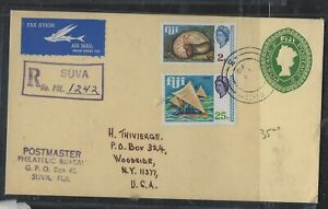 FIJI ISLANDS COVER (P1912B) 1969 QEII PSE 2C+ 2C SHELL+25C BOAT REG TO USA