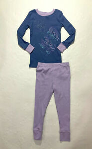 Planet Sleep Girls Lavender Blue Mermaid Organic Cotton Pajamas