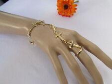 Women Gold Metal Thin Classic Fashion Hand Chain Charm Cross Bracelet Slave Ring