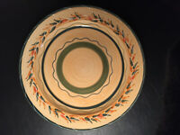 Furio Italy Large Hand Painted Stoneware Round Chop Plate Serving Platter ~ EUC