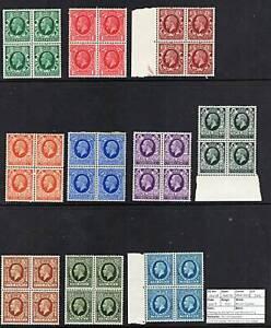 1449 SG439/48 Photogravure Set to 10d Blocks of 4 1934/6. All MNH Mint c£325+