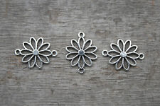 25pcs--Flower charms silver Filigree Flowers Charm Pendant connector 25x19mm