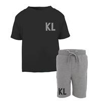 Personalised Initial Toddler Tracksuit Kids Short Suit Set Summer Custom Black