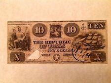 - 1839 Republic of Texas Ten $10 Dollars