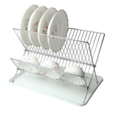 Deluxe Chrome-plated Steel Foldable X Shape 2-tier Shelf Dish Drainer Drainboard