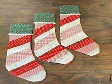 Vintage Handmade Patchwork Christmas Stockings set of 3 Red Green white