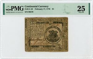 (CC-23) February 17, 1776 $1 Continental Currency Note - PMG VF 25