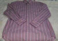 Peter Millar Men Medium Pink Striped Button Front Long Sleeve Dress Shirt L-12