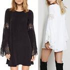 new Women Lace Floral Hollow Long Sleeve Tops Blouse T-shirt Beach short Dress
