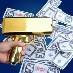 Cash Cannon Money Gun 100pcs Replica Toy Bills Beach Party April Fool Game Gold