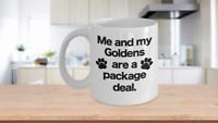 Me and My Goldens are a Package Deal Mug White Coffee Cup with Paw Prints