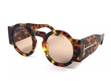 2bcc879011113 Tom Ford Tatiana 02 Tf603 TF 603 55e Brown Havana Retro Round Women  Sunglasses