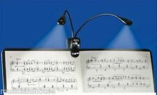 MUSIC STAND CLIP ON 4 LED LIGHT DUEL TWIN READING LAMP USB MUSICIAN TEACHER GIFT