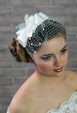 Womens Wedding Bridal Head Comb Prom Satin Organza Fascinator Pearls Headband