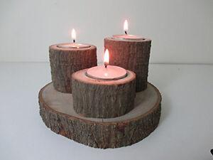 Natural Handmade Avocado Wood 3 Tea light triple Candle Holder Made from Reclaim