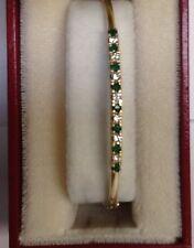 18K YELLOW GOLD EMERALD & DIAMOND BANGLE BRACELET