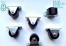 8 Rigid Fixed Wheels Casters 30mm Furniture Beds Drawers Boxes Matresses Plastic