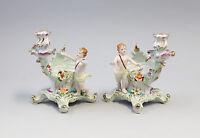 9987242 Paar Porzellan Schalen Putto mit Leuchter Kerzenständer H19cm