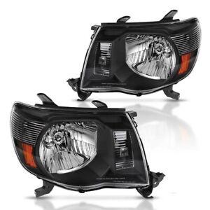 For 05-11 SET Tacoma Headlamps Headlights Head Lights Lamps 2005-2011 Black