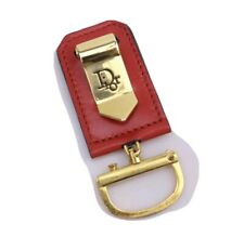 Rare Christian Dior Key Ring Gold Red Leather Money Clip Not Mass Produced Bag