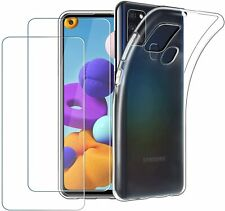 COQUE GALAXY A21S SAMSUNG + 2X VITRE housse silicone transparent VERRE TREMPE
