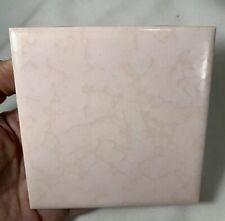 "4 Vintage Dal Tile Pink Peach Ceramic Wall Tile 4 1/4"" Square Mottled Textured"