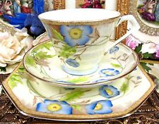 PARAGON  TEA CUP AND SAUCER TRIO FLORAL PAINTED PATTERN TEACUP BLUE FLORAL