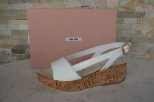 MIU MIU Gr 36,5 Sandalias Con Plataforma sandals zapatos Blanco NUEVO