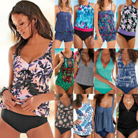 Ladies Two Piece Tankini Sets Swimsuit Swimwear Swimming Costume With Boy Shorts