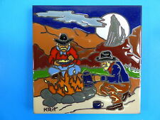 """Ceramic Art Tile 6""""x6"""" Western cowboy cookout open range coyote hand painted H9"""