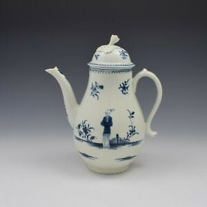 First Period Worcester Porcelain Waiting Chinaman Coffee Pot & Cover c.1770
