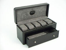 "Bey Berk Black ""Croco"" Leather 5 Watch Box with Drawer for Pens"