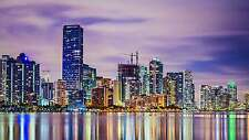 STUNNING MIAMI CITYSCAPE CANVAS #401 QUALITY FRAMED WALL ART A1