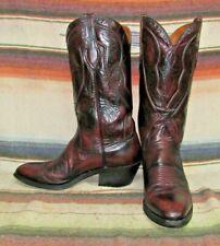 Mens Vintage Dan Post Black Cherry Goatskin Cowboy Boots 9 B Very Good Used Cond