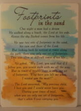 Memorial Grave Card Footprints in the sand Poem 16.5cm x 12cm
