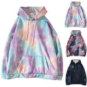 Plus Size Womens Tie Dye Long Sleeve Hooded Hoodies Casual Loose Sweatshirt Tops