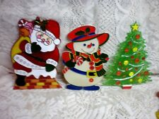 3 Vintage Plastic Christmas Tree , Snowman & Santa Wall Hangings Signs