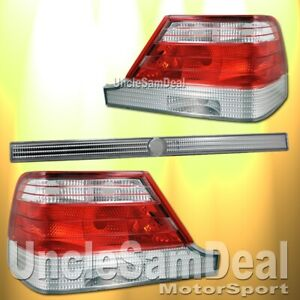 97-99 MERCEDES BENZ S-CLASS W140 RED CLEAR TAIL LIGHTS TRUNK 3 PIECES DIRECT FIT