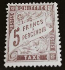 France Taxe N°27 5 F Marron NSG TB Qualité Et Fraîcheur Cote 800€