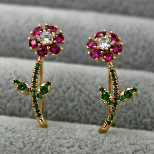2Ct Round Cut Red Ruby&Green Emerald Flower Stud Earrings 14K Yellow Gold Finish