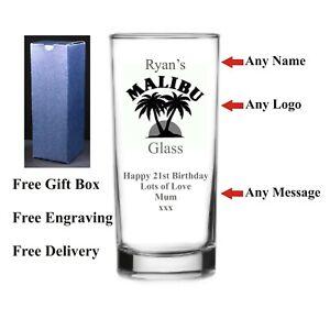 Personalised Hi Ball Malibu Glass, Birthday Gift, 18th 21st 30th 40th 50th 60th