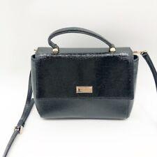 Kate Spade New York Womens Crossbody Bag Black Textured Patent Leather Shoulder