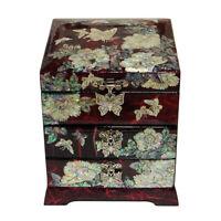 Boîte à bijoux en nacre bois rouge laqué coréen Oriental Treasure Case