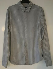 Calvin Klein Jeans Mens Grey White and Black Striped Cotton Shirt Size Large