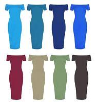 New Women Plain Off Shoulder Midi Dress Ladies Cap Sleeve Bardot Party Bodycon